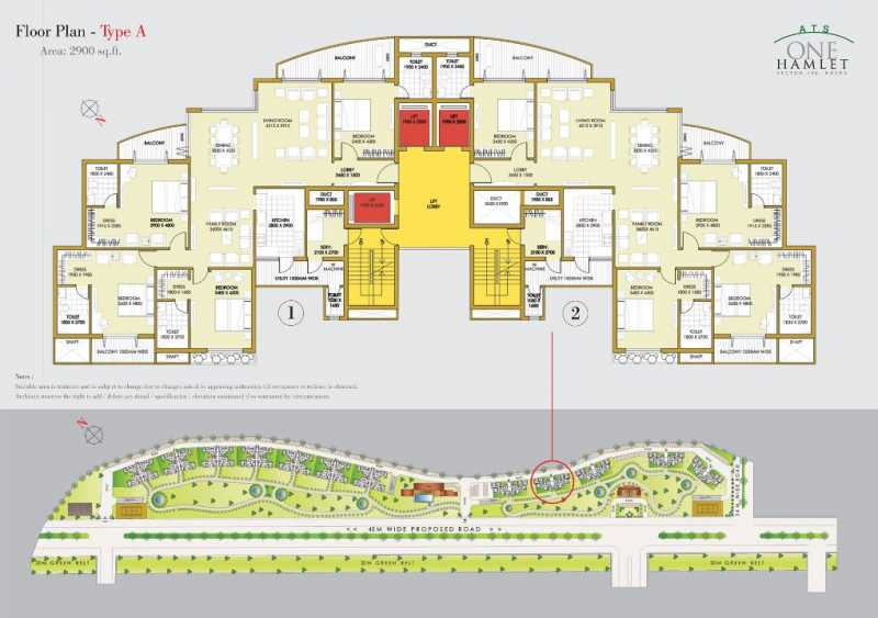 Ats One Hamlet Sector 104 Noida By Ats Group Luxury 3 4 Bhk Penthouse Apartments Floor Plans
